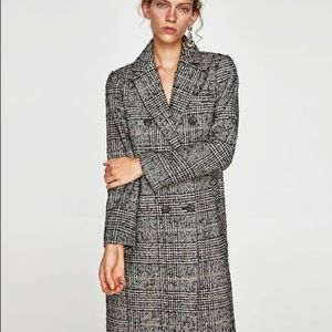 Zara Grey/black Checked Coat, Large
